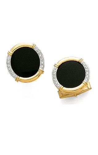 14K Yellow Gold Black Onyx Diamond Cufflinks .24 ct.-89280