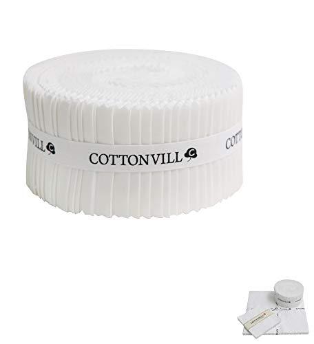 COTTONVILL Cotton Solid Precut Quilting Fabric Bundle 42 pcs, White (2.5