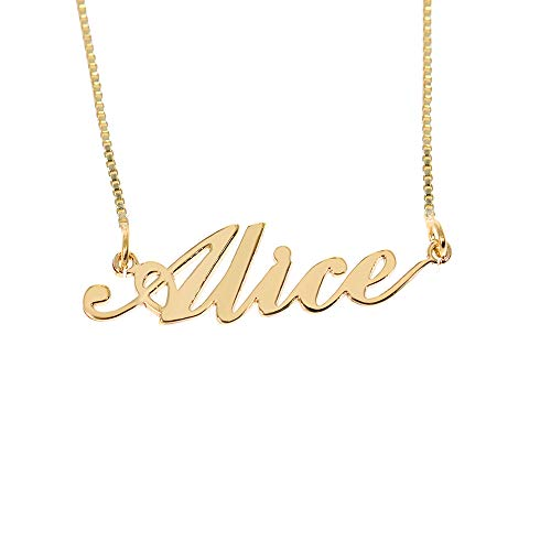 BINKILA Custom Name Necklace Personalized Pendant Made Initial Birthstone Necklace with Box Chain 18K Gold Gifts for Women (Alice in Gold)