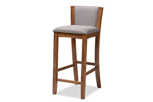 (Baxton Studio Set of 2 151-8756-AMZ Bar Stools, Gray/Walnut)