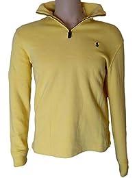 Mens Half Zip French Rib Cotton Sweater (Small, Yellow)
