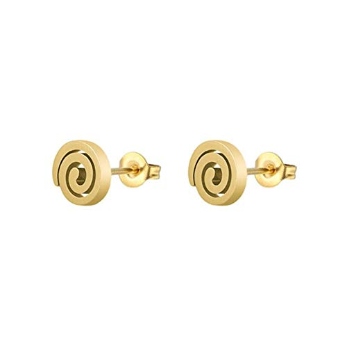 Trending Styles Round Stud Earrings Swirl Stainless Steel Jewelry Geometric Earrings Female Studs ()