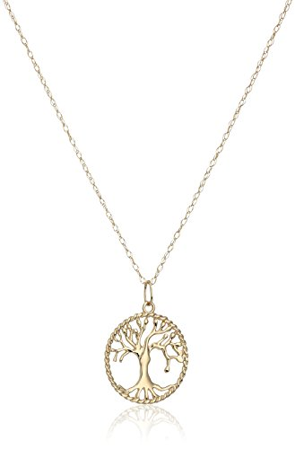 Ring 14k Gold Pendant (14k Yellow Gold Tree of Life Pendant Necklace, 18