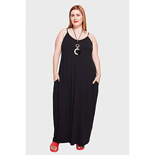 Vestido Longo Alça Fina Plus Size Preto-56/58