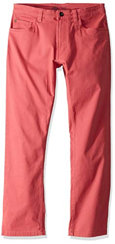 Iron Chino Pants - IZOD Men's Saltwater Stretch Flat Front Straight Fit Chino Pant, Saltwater Red, 40W x 30L