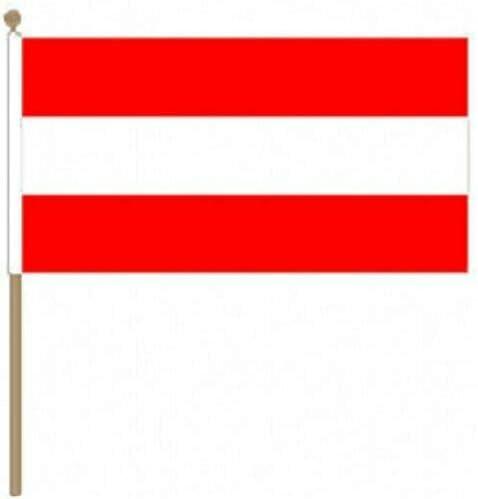 Flagmania® 12 Stück Österreich 30,5 x 45,7 cm große Handwinkel-Flaggen + 59 mm Button Badge