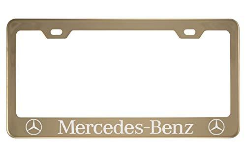 Fit Mercedes-Benz Polished Stainless Steel Gold License Plate Frame (Plating Color)