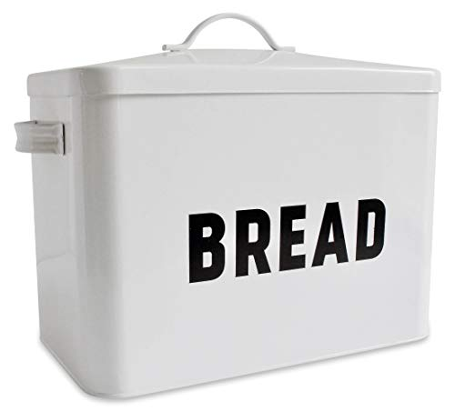 Bread Canister - Metal Bread Box - Countertop Space-Saving, Extra Large, High Capacity Bread Storage Bin for your Kitchen - Holds 2+ Loaves - White with Bold BREAD Lettering