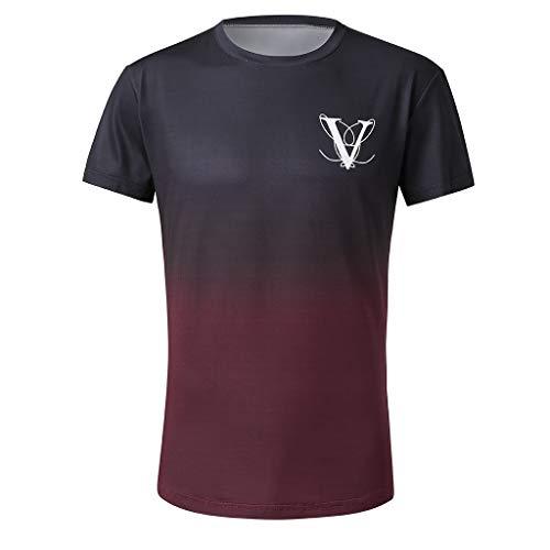 Skirt Elliptical - ❤️Ywoow❤️, Men's Fashion Round Collar Elastic Gradient Color Elliptical Hem Casual Fitness T-Shirt Short Sleeve Shirt Red