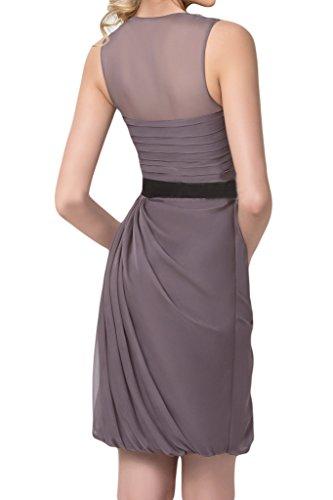 Donna da scuro sera ball amp; dell'abito Chiffon Grigio fiocco rotondo vestito festa tulle Modern colletto Ivydressing rW4rqAZF