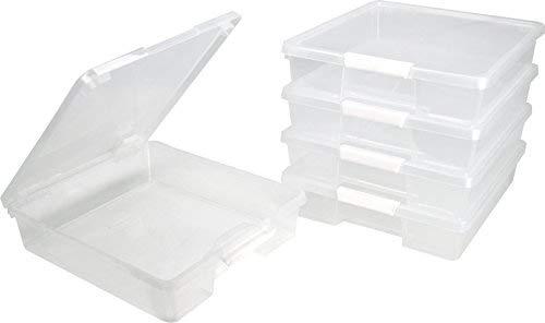 Case Scrapbook Iris - Storex Classroom Student Project Box, 12 x 12 Inches, Clear, Case of 5 (63209U05C)