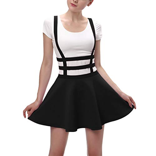 Women's Dresses Pleated Short Braces Sleeveless Dress Fashion Casual Rayon Skirt Pure Color Polyester A-Line Tops ()