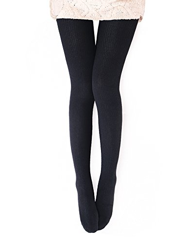 Vero Monte 1 Pair Womens Wool Blend Ribbed Tights - Opaque Knit Tights (Black)