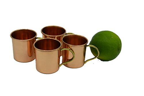 Set of 4 - Hammered Copper Barrel Shotglasses -100% Pure Copper by Alchemade ()