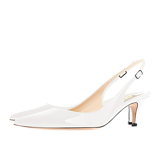 VOCOSI Slingbacks Pumps for Women,Low Kitten Heels Comfortable Pointy Toe Pumps Shoes White