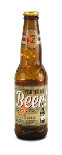 Pavilion Gift Company 22087 Beer All The Time Beer Bottle Lantern, Wish You were Beer