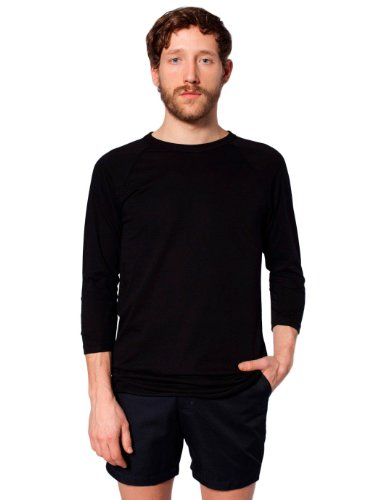 American Apparel Poly-Cotton 3/4 Sleeve Raglan Shirt - Black / S