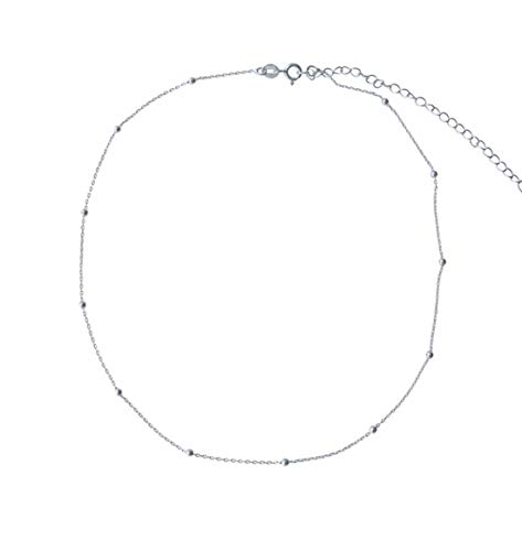 Amkaka Minimalist Sterling Silver Choker Necklace Thin Bead Ball Necklace (Silver) Dainty Sterling Silver Necklace