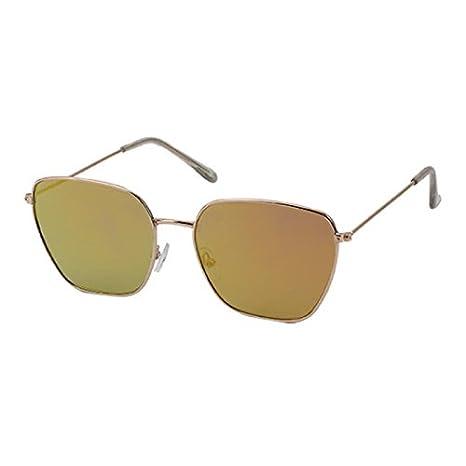 Sonnenbrille Piloten Retro Stil 400 UV verspiegelt Trapezform eckige Gläser vQsxIQl