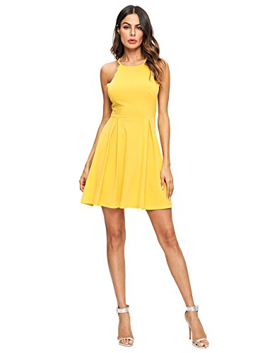 A Line Flared Skater Romwe Swing Yellow Sweet Pleated Women's Sleeveless Dress Scallop xWB0q8