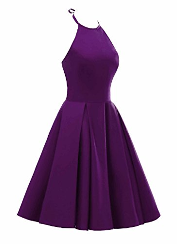 Robes De Retour À La Maison Sans Dossier Licol Femmes Changuan Robe De Soirée Courte Cocktail Violet