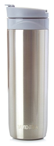 DAVIDsTEA Tea Press Double-Walled Stainless Steel Travel Mug for Loose Tea, Silver, 16 oz / 473 ml -