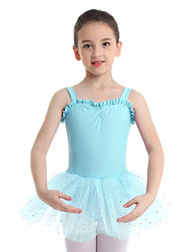 iiniim Kids Girls Shimmering Ballet Dance Tutu Dress Shoulder Straps Gymnastic Leotard Fairy Dress up Costumes Light Green 2-3]()