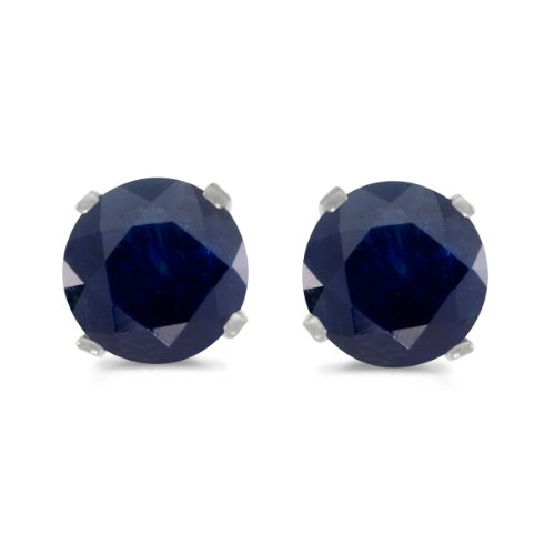 - 1 Carat Total Weight Natural Round Sapphire Stud Earrings Set in 14k White Gold