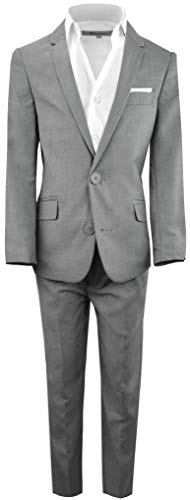 Black n Bianco Boys' First Class Slim Fit Suits Lightweight Style. Presented by Baby Muffin (8, Rustic Gray)