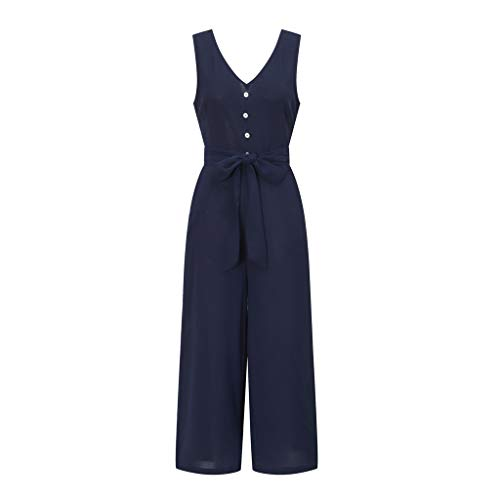 Pervobs Women Sleeveless V-Neck Backless Solid Button High Waisted Wide Leg Jumpsuit Casual Loose Beach Playsuits(XL, Navy) by Pervobs Women Pants (Image #5)