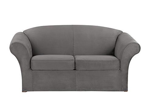 Sure Fit Ultimate Heavyweight Stretch Suede Individual Cushion Loveseat Slipcover - Slate - Fit Sure Soft Suede Sofa