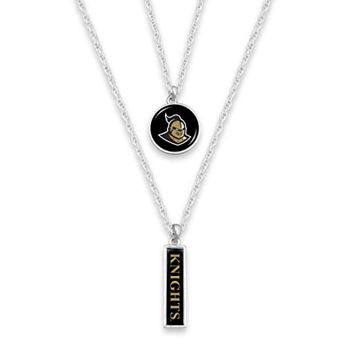 FTH Central Florida Knights Silver Tone Double Charm Necklace with Round Logo and Nameplate Charms