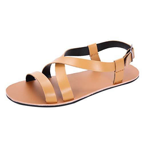 Shusuen Sandals for Men Women Criss Cross Style Slide Sandal Brown]()