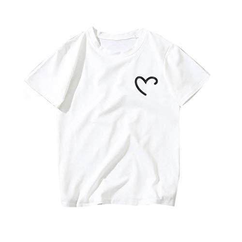 GHrcvdhw Women Casual Loose Plus Size Heart-Shaped Print Tees Shirt Short Sleeve O-Neck T-Shirt Blouse -