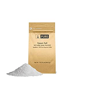 Epsom Salt (1 lb.) by Pure Organic Ingredients, Magnesium Sulfate Soaking Solution, All-Natural, Highest Quality & Purity, USP Grade 51