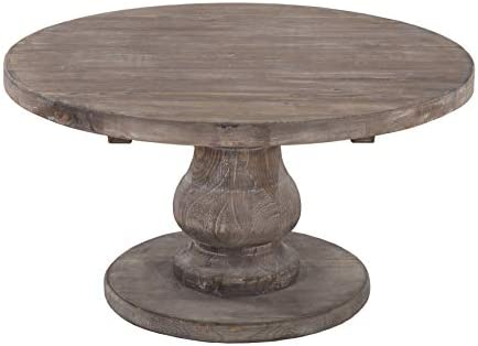 Benjara Wooden Round Coffee Table