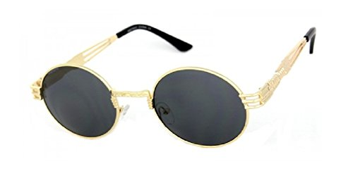 Round Classic Oval Luxury Steampunk Sunglasses (Metallic Gold Frame, - Sunglasses School Old