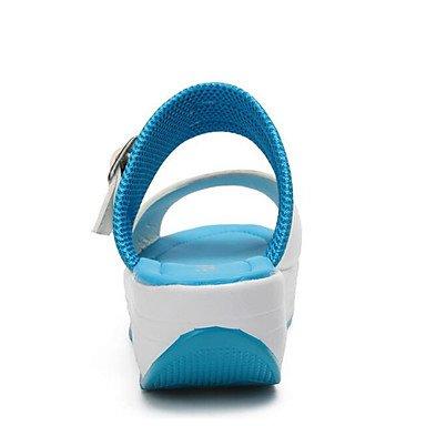 LvYuan Mujer-Tacón Cuña-Otro Creepers Confort-Sandalias-Exterior Oficina y Trabajo Vestido Informal-Semicuero Blue