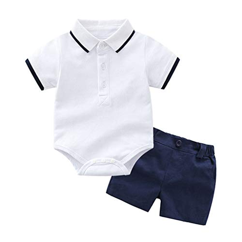 Toddler Baby Kids Boys Clothes Set T-Shirt Romper Tops Solid Short Pants Outfits -