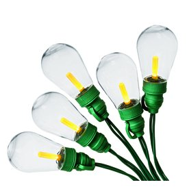 Holiday Living Edison 25 ct Clear Yellow Lights #0477621 LED Green Wire T40