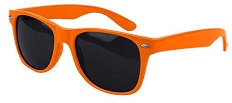 BOOLAVARD - Lunettes de soleil unisexe, femmes, hommes - Style Nerd, Wayfarer, Rétro, Vintage Noir, Rouge, Blanc, Bleu, Rose, Jaune ... (Teinte Orange)
