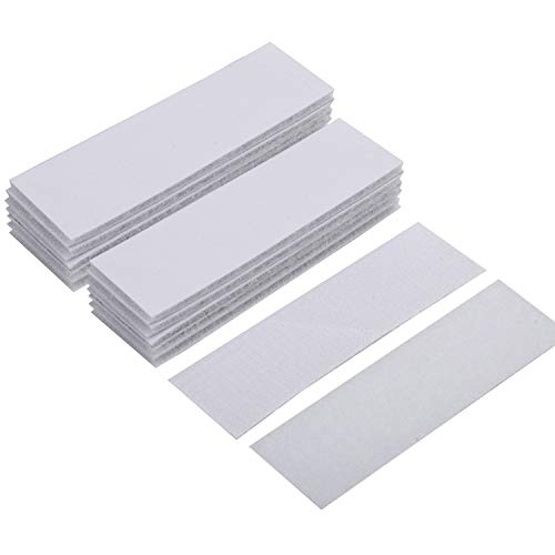 (BRAVESHINE Adhesive Tape - 15PCS Industrial Strength Hook Loop Tape - Double Sized Rug Gripper Sticker Pads - Sticky Back Wall Mounting Strips for Home Office Carpet Trends Car Mount (White, 1.2