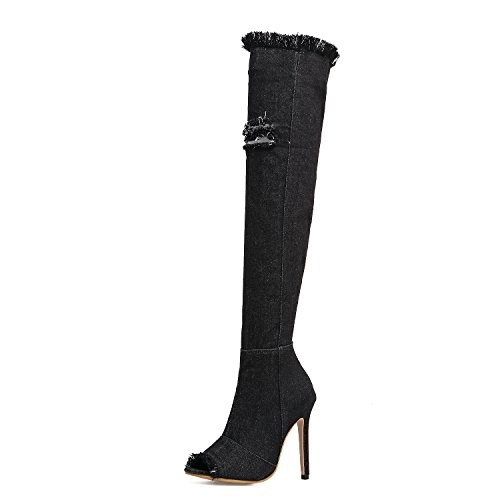 amp;X la alto zapatos Denim QIN botas elástico la Black de de rodilla mujer Pescado Boca sobre largo dw4wnq8C