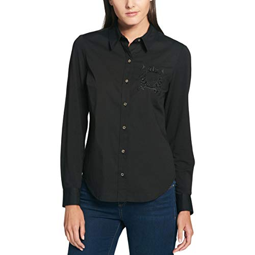 Tommy Hilfiger Womens Embroidered Button Down Blouse Black XS
