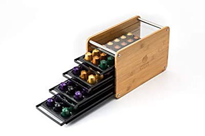 JackCubeDesign Bamboo 84 Coffee Holder Organizer Storage Box Stand 4 Drawer