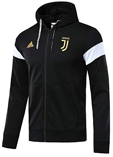 VVBSoccerStore New Men's Juventus Black Full Zip Hoodie (Small)