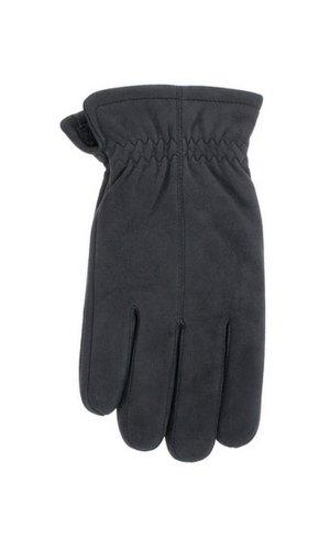 Men's 'Jackaroo' Sheepskin Leather Gloves with Fleece Lining By Grandoe (10.5-11 (XL), Black Well Worn)