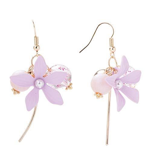 (VVANT Flower Earrings for Women Drop Dangling Minimalist Earrings, Fashion Gifts for Mother's Day/Birthday/Daily (Pink))