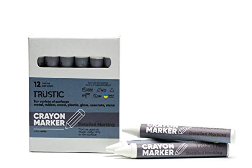 Trustic Crayon Wax Marker for Ambient Surface Detailed Marking on Wood Metal Carton Ceramics Concrete Glass Plastic Tire, Pack of 12 - White