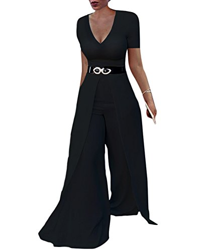 Dreamparis Womens Wide Leg Jumpsuits Romper Long Sleeve High Waisted Flare Palazzo Pants Suit Black XL